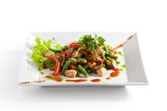 Salmon Salad. Salmon Warm Salad with Green Bean, Mushrooms and Paprika stock photo