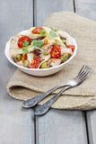 Salmon salad on wooden table Royalty Free Stock Image
