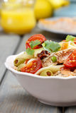 Salmon salad on wooden table Royalty Free Stock Photography