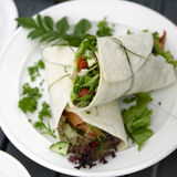 Salmon and Salad Wrap for lunch Stock Photo