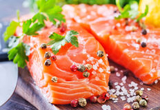 Salmon with. Salt and aroma spice Stock Images