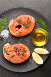 Salmon with salt, dill and lemon. Royalty Free Stock Photo