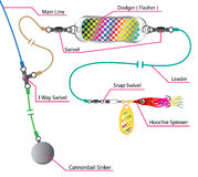 Salmon and saltwater trolling rig with a flasher and spinner hoo Stock Photo