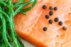 Salmon with samphire Royalty Free Stock Photo