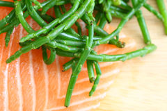 Salmon with samphire Royalty Free Stock Photos