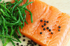 Salmon with samphire Stock Image