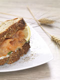 A salmon sandwich. A salmon and cream cheese sandwich made of whole grain bread royalty free stock photos
