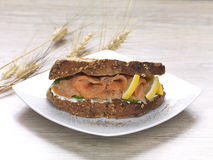 Salmon sandwich. A salmon and cream cheese sandwich made of whole grain bread royalty free stock photos