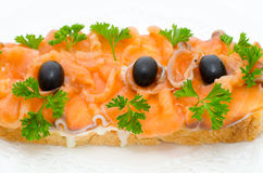 Salmon sandwich Royalty Free Stock Image