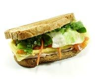 Salmon sandwich. Smoked salmon sandwich on farmhouse loaf stock photos