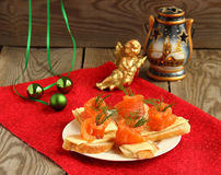 Salmon sandwich. Сanapes with smoked salmon and cream cheese for holiday stock images