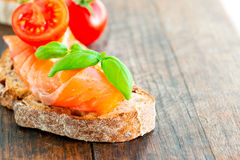 Salmon sandwich with copy space Royalty Free Stock Photography