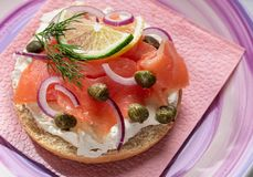 Salmon sandwich closeup stock photo