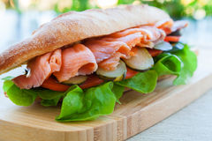 Salmon sandwich Stock Photo