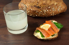 Salmon sandwich with ginger beer. Stock Photos