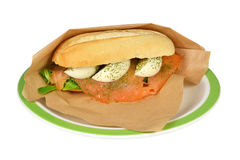 Salmon on a sandwich. Royalty Free Stock Image