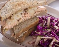 Salmon Sandwich and Red Cabbage Salad. Close up royalty free stock image