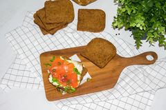 Salmon Sandwich. On wooden plate Stock Photography