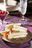 Salmon sandwiches. Small sandwiches for high tea with salmon and creamcheese Royalty Free Stock Images