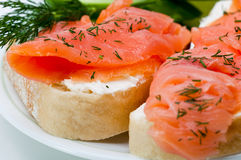 Salmon sandwiches Royalty Free Stock Photo