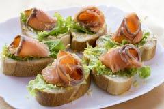 Salmon sandwiches Royalty Free Stock Photos