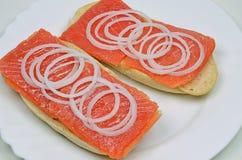 Salmon Sandwiches com cebolas Foto de Stock