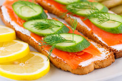 Salmon sandwiches Stock Image