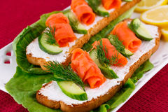 Salmon sandwiches Royalty Free Stock Image