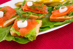 Salmon sandwiches Stock Photography