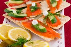 Salmon sandwiches Stock Photos