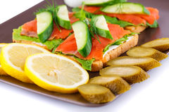 Salmon sandwiches Royalty Free Stock Photos