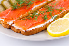 Salmon sandwiches Stock Photos