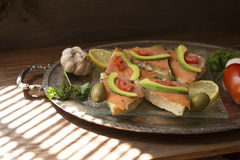 Salmon sandwiches Royalty Free Stock Images