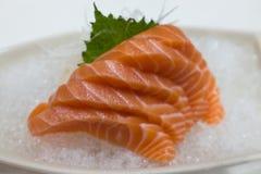 Salmon Sashimi över is Arkivbilder