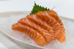 Salmon Sashimi över is Arkivfoto
