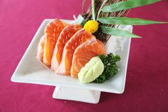 Salmon sashimi set on a plate. In close up royalty free stock photos
