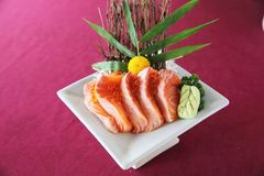 Salmon sashimi set on a plate. In close up stock photo