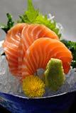 Salmon sashimi. Slice Salmon with wasabi stock images
