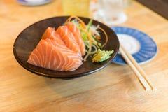 Salmon Sashimi on Black Ceramic Plate Royalty Free Stock Photography