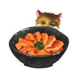 Salmon Sashimi Bowl et Cat Peeking Watercolor mignonne illustration de vecteur