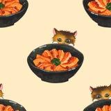 Salmon Sashimi Bowl et Cat Peeking Watercolor mignonne Fond sans joint d'illustration illustration libre de droits