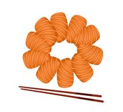 Salmon Sashimi with Chopsticks on White Background Royalty Free Stock Image