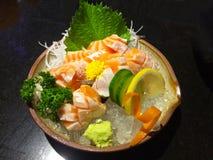 Salmon sashimi with ice Stock Photos