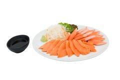 Salmon sashimi and imitation crab Royalty Free Stock Photos