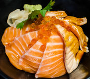 Salmon Sashimi Rice and Salmon Eggs. Salmon Sashimi Rice and Salmon Eggs ready to serve in japanese restaurant Stock Photo