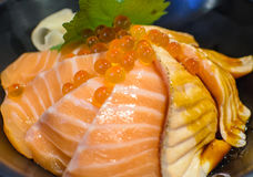 Salmon Sashimi Rice and Salmon Eggs. Salmon Sashimi Rice and Salmon Eggs ready to serve in japanese restaurant Stock Photos