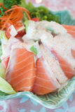 Salmon sashimi salad Stock Images