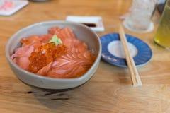 Salmon sashimi and salmon roe Stock Images