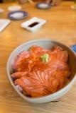 Salmon sashimi and salmon roe Stock Photo