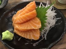 Salmon Sashimi. Sashimi & x28;/səˈʃiːmiː/; Japanese: 刺身, pronounced [saɕi̥mi]& x29; is a Japanese delicacy consisting of very fresh raw meat or fish Stock Images